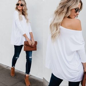 Tops - Casual off shoulder white Women's oversized tops